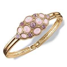 Avon,Play up your fashion personality with this unique goldtone bangle bracelet with a cluster of colored faceted rhinestones and opalesque faux stones.· Bangle: W x H with foldover clasp· Imported Avon, Bangle Bracelets, Bangles, Ankle Chain, Faux Stone, Affordable Jewelry, Fashion Jewelry, Bling, Jewels