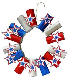 USA Wreath Recycle cardboard tubes turning them into pretty patriotic wreaths for Memorial Day. Hang one on the front door or in a window for a nice display of red white and blue! The post USA Wreath was featured on Fun Family Crafts. Patriotic Wreath, Patriotic Crafts, 4th Of July Wreath, Cute Kids Crafts, Family Crafts, Kid Crafts, Preschool Crafts, Summer Crafts, Holiday Crafts