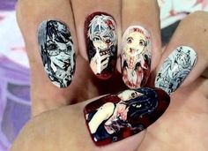 Great Nail art I love Tokyo Ghoul and let me tell you this is perfect nail art :p