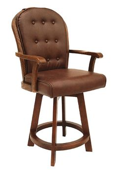 """Set of 2 Chromcraft 15 collection walnut finish wood custom upholstered swivel counter height bar stools. This bar stool features a custom upholstered comfortable bucket seat with heavy frame and swivel.   This set is made to order custom upholstered seats and takes 8 -10 weeks in production.   Choose from the fabrics in the options menu, or email us for information. Bar stools measure approx 52"""" H x 24"""" W x 26"""" D. Some..."""
