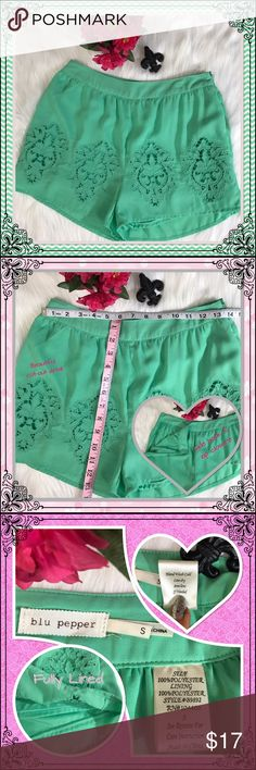 ⚜️ Blu Pepper dress shorts - Size Small ⚜️ Blu Pepper mint colored shorts with cut-out detail all the way around.  These shorts are fully lined and have a size hook and zip closure.  SUPER cute and perfect for spring/summer! Please ask if you have any questions! 😀 Don't forget to bundle for a discount! 💵 And....as always.... I 💕 OFFERS! Blu Pepper Shorts