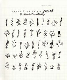 "journalsanctuary: "" Doodle ideas 2 - floral I've been drawing these simple branches and flowers in my spreads recently and wanted to make some sort of a reference sheet, but then I though it'd be nice to share it with you! You can use these in your..."
