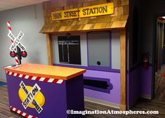 Kids Murals, Childrens Room Art and Design and Themed Environments Kids Church Rooms, Vbs Themes, Train Room, Murals For Kids, Imagination Station, Vacation Bible School, Hallway Decorating, Train Station, Classroom Decor