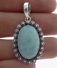Larimar Pendants Natural Gemstone Bezel set in Solid 925 Sterling Silver. #Rananjay #HandmadePendant