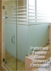 Frosted Glass Shower Door More characteristics of Frosted Glass: Acid-Etched or Sandblasted Surface Added Privacy Distinctive and smooth Satin-like appearance Admits Soft Light One side is etched, other side is smooth for Easy Cleaning Perfect for Designer Patterns