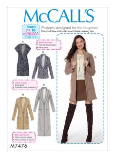 Great Picture of Cardigan Sewing Pattern Cardigan Sewing Pattern Mccalls 7476 Misses Drop Shoulder Vest And Cardigans Sewing Coat Pattern Sewing, Easy Sewing Patterns, Mccalls Sewing Patterns, Coat Patterns, Clothing Patterns, Sewing Coat, Skirt Patterns, Pattern Drafting, Dress Sewing