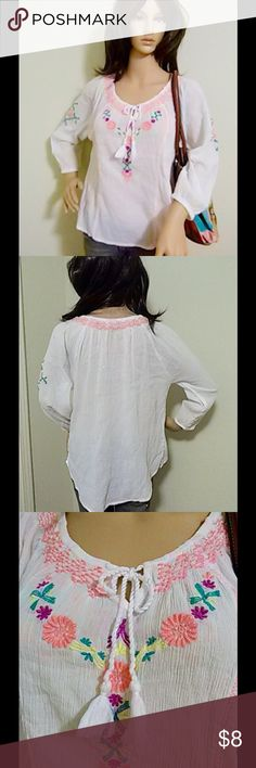 "$4 WITH BUNDLE- PEASANT TOP SZ S $4 with bundle. Pretty peasant top with neon-colored design on front neckline and sleeves. Gauzy feel to material. Rounded bottom hem. Loose, flowy fit. Elastic cuffed sleeves. Size Small, runs big. Worn a handful of times and in great shape. Marissa is 5'8"" tall. Bust 32.5"". Waist 24"". Hips 34"". Mudd Tops Blouses"