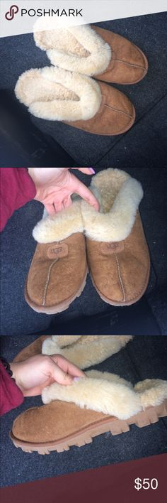UGG Chestnut Coquette Slippers NWOT worn once! Very great condition ugg slip ons with fur inside. No stains, no discolorations, no snags, no pulls, no wear / tear. UGG Shoes Slippers