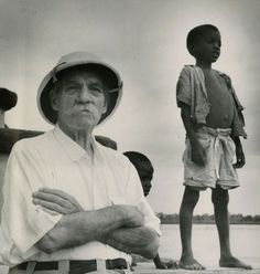 Another picture of Albert Schweitzer helping out in Africa.