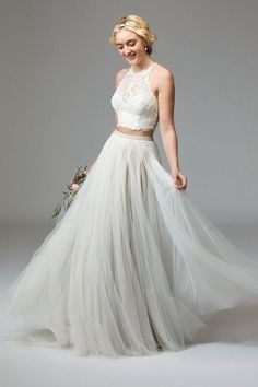 Watters two pieces wedding dress - Deer Pearl Flowers / http://www.deerpearlflowers.com/wedding-dress-inspiration/watters-two-pieces-wedding-dress/