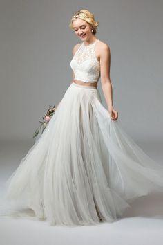 Watters two pieces wedding dress - Deer Pearl Flowers / http://www.deerpearlflowers.com/wedding-dress-inspiration/watters-two-pieces-wedding-dress/