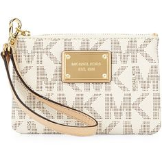 MICHAEL Michael Kors Jet Set Small Wristlet (35.115 CLP) ❤ liked on Polyvore featuring bags, handbags, clutches, vanilla, wristlet clutches, accessories handbags, purse, wristlet handbags and pvc purse