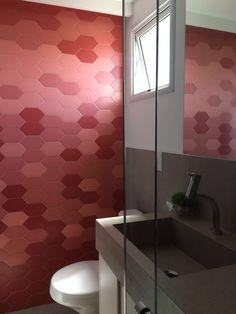 Geometric feature wall in the bathroom with these red Portobello Chez Moi tiles Portobello, Red Tiles, Tiles Online, Decorative Tile, Wall Tiles, Ideas Para, Sink, New Homes, Bathtub