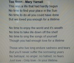 One of two poems read at little man's service.