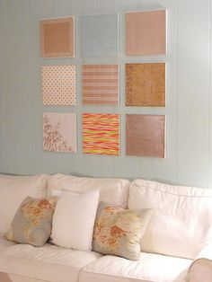 Colorful, inviting, not overstimulating or thought-provoking.  Canvas Wall Art with scrapbook paper & Mod Podge