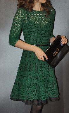 Click to view pattern for - Crochet green dress