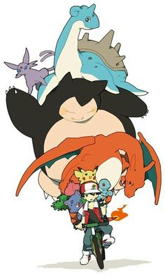Ash Ketchum, trainer, Pokemon, funny, bicycle; Pokemon
