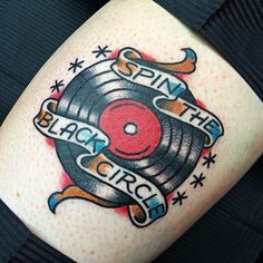 Traditional tattoo. Record and banner.