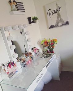 Viva la glam!  Such a chic and elegant setup from @vivaglamlizy. Featured: #ImpressionsVanityHollywoodChicXL with Frosted Bulbs  Target Desk Top  IKEA drawers
