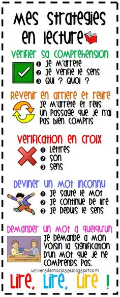 Teach Your Child To Read - La lecture (affiches pour les stratégies de lecture: universdemaclasse. ) - TEACH YOUR CHILD TO READ and Enable Your Child to Become a Fast and Fluent Reader! French Teaching Resources, Teaching French, Teaching Tips, Teaching Reading, Read In French, Learn French, French Stuff, Reading Strategies, Reading Comprehension