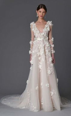 Featured Dress: Marchesa; Wedding dress idea.