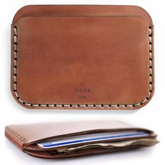 Dailytechstudios At the base of the Rocky Mountains, Thread Wallets was created to bring life and personality to an industry saturated with big, bulky and boring wallets. Leather Wallet Pattern, Brown Leather Wallet, Handmade Leather Wallet, Leather Gifts, Leather Tooling, Leather Men, Simple Wallet, Slim Wallet, Men Wallet