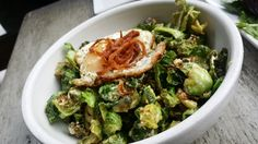 Take a Trip to Brussels, fried Brussel Sprouts, French fried scallions, and farm fresh fried egg at Blackbird Tavern in Old Town Temecula.