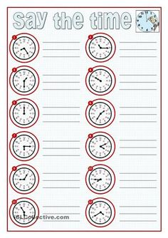 Learning to say  the time is a challenge to young learners and an important content when we teach present simple and routines. Here you are some clocks to practice. I have included two pages to write the time, a third page to draw the hands and a fourth just as a template. Size the time! :) - ESL worksheets