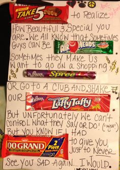 Candy Card I Made For A Good Friend Going Through Man TroublesIt