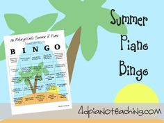 Summer Piano Bingo - your students will not be able to stop playing!!