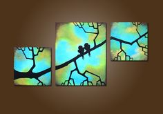 This makes me smile. WANT!!! Two Birds in Love  HUGE 40 x 20 Textured by shannacreations, $225.00