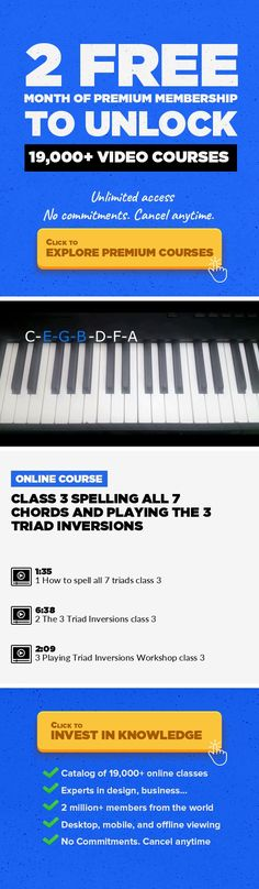 """Class 3 Spelling all 7 Chords and Playing the 3 Triad Inversions Music Production, Creative #onlinecourses #onlinecoursestips #skillstolearn    This is class 3 of the course """"Beginning Music Theory and Harmony for Producers, Composers, and Artists""""  If you have trouble please go back and watch the first 2 classes."""