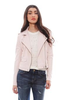 Iro Ashville Cropped Leather Jacket in Light Pink $1200