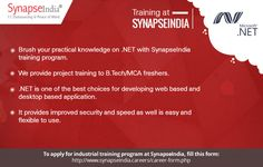Brush your practical knowledge on .NET with SynapseIndia trainings program.  We provide project training to B.Tech/MCA freshers.  Get more info at: https://synapseindiatrainingsnoida.wordpress.com/2017/06/06/synapseindia-training-program-project-training-program-for-b-techmca-freshers/