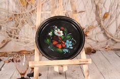 Round tray - Metal tray - Decorative tray - Vintage Soviet tray - Floral motifs tray - Serving Tray - Hand painted Tray - Small tray