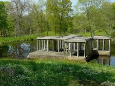 Philip Johnson's Lake Pavilion on his Glass House Property, New Canaan, CT.  Note - Johnson deliberately designed this structure to have a play on scale within the landscape.