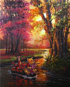 Pooh on the Autum River by Rodel Gonzalez #rodelgonzalez #disneyart jordan.morgan@wylanflorida.com