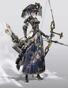 Female Character Design, Character Design Inspiration, Character Concept, Character Art, Concept Art, Archer Characters, Fantasy Characters, Anime Characters, Arte Cyberpunk