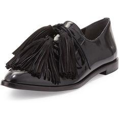 Loeffler Randall Jasper Patent Tassel Oxford ($420) ❤ liked on Polyvore featuring shoes, oxfords, black oxfords, black oxford flats, black patent leather oxfords, black flat shoes and black lace up flats