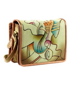 This Magnifique Bags Abstract Leather Hand-Painted Organizer Shoulder Bag by Magnifique Bags is perfect! #zulilyfinds
