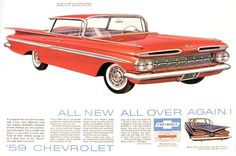 "Vintage 1958 Chevrolet "" All New All Over Again"" magazine ad that has been carefully extracted from Time Magazine. This double page spread is a continuous sheet Chevrolet Impala 1959, Chevrolet Bel Air, Old School Pictures, Old American Cars, American Auto, Buick Riviera, Automobile, Car Advertising, Vintage Ads"
