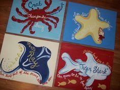 Shark - Menta Ray - Starfish - Crab - Set of 4 paintings - 12x16 Surf Paintings