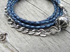 Sterling Silver Blue Braided Leather Wrap Bracelet by TANGRA2009