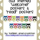"*This is my 50 Followers Freebie!! -Use these owl themed ""Welcome!"" and ""Read!"" posters to decorate your room for the beginning of the school year..."