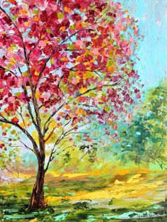 Original oil painting Summer Blossoms Tree on canvas by Karen Tarlton impressionism impasto Flower palette knife fine art