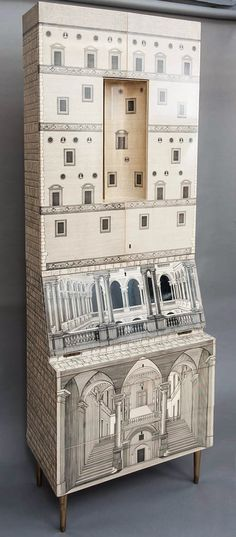 PIERO FORNASETTI & GIO PONTI, Trumeau with Architettura-print, Italy, c.1959. Material lithographic transfer-printed wood and metal, mahogany, painted metal, painted wood, brass and glass. / 1stDibs