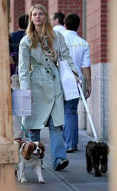 claire danes with her Cavalier King Charles Spaniels