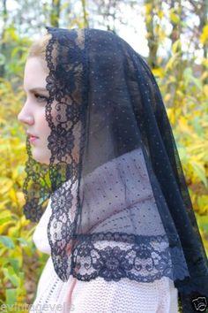 Winter-2015-Lovely-Spanish-Lace-Dotted-Black-Mantilla-Chapel-Veil-Latin-Mass