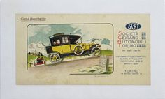 SCAT Societa Ceirano Automobili Torino original vintage poster by Biscaretti from 1912 Italy