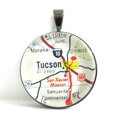 Road Map Pendant of Tucson Arizona from by CarpeDiemHandmade, $12.50